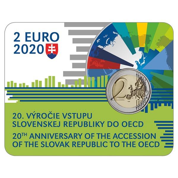 Sběratelská karta s 2 EUR mincí 2020 20. výročí vstupu SR do OECD stand