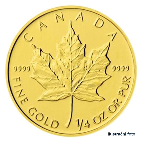 Zlatá investiční mince 1/4 Oz 10 CAD Maple Leaf stand