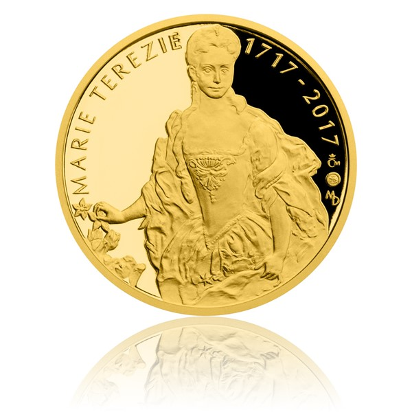 Zlatá půluncová medaile Marie Terezie proof