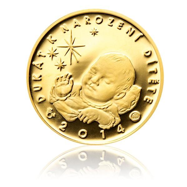 Zlatý dukát k narození dítěte 2014 s věnováním proof