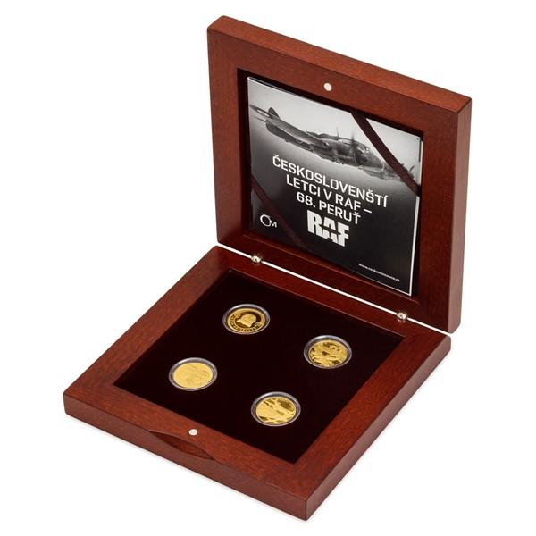 Sada čtyř zlatých mincí Českoslovenští letci RAF - 68. noční stíhací peruť proof