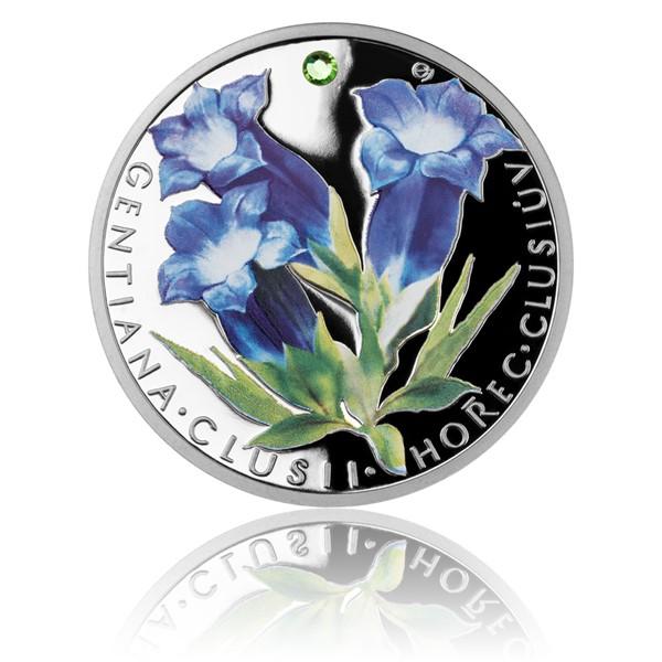 Stříbrná mince Ohrožená příroda - Hořec Clusiův proof