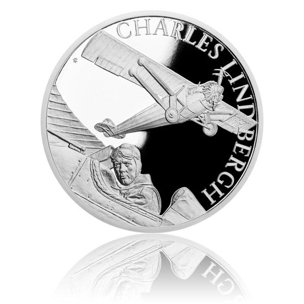 Stříbrná mince Století létání - Charles Lindbergh proof