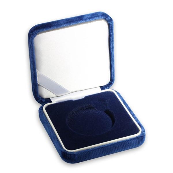 Sametová etue modrá 8x8 na průměr 44,38 mm