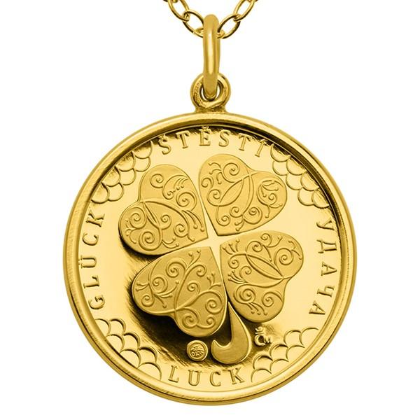 Česká mincovna 30959-619 Zlatý přívěsek Čtyřlístek pro štěstí ve váze dukátu proof