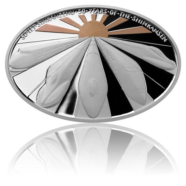 Stříbrná mince 50 let Šinkanzenu proof