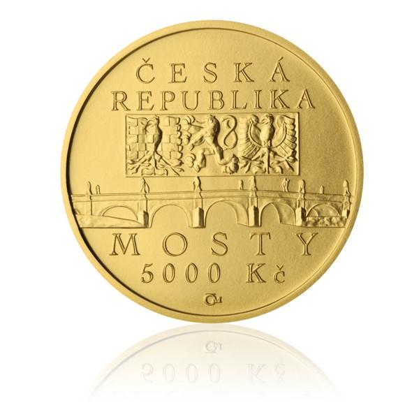 Zlatá mince 5000 Kč 2012 Barokní most v Náměšti nad Oslavou stand