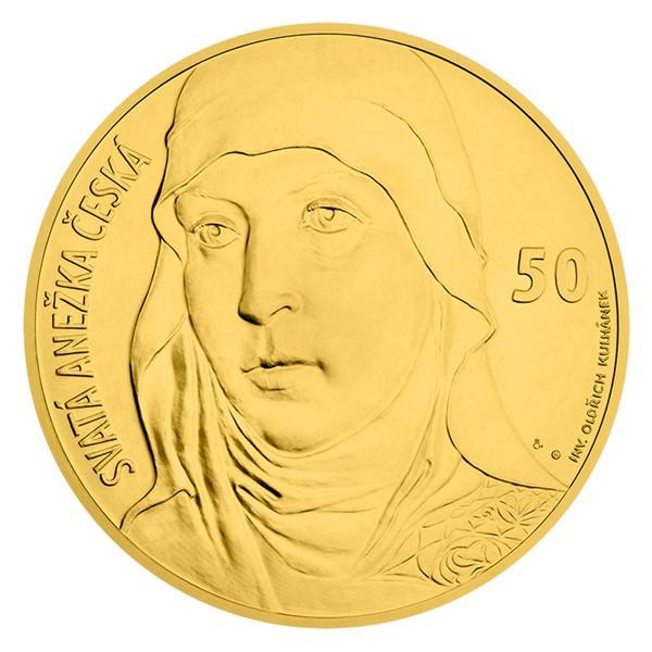 Zlatá kilogramová sběratelská medaile s motivem 50 Kč bankovky - sv. Anežka Česká stand