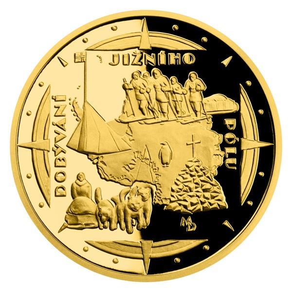 Zlatá čtvrtuncová mince Polárníci - Dobytí jižního pólu proof