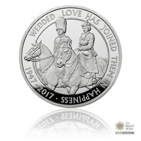 Stříbrná mince Platinová svatba piedfort