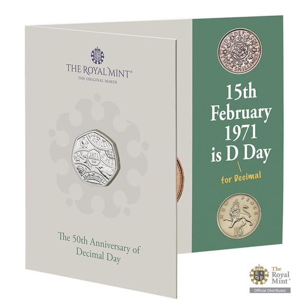 """Pamětní mince 50. výročí """"Decimal Day"""" UK 2021 brilliant"""