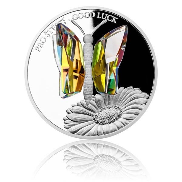 Stříbrná mince CRYSTAL COIN - Pro štěstí proof