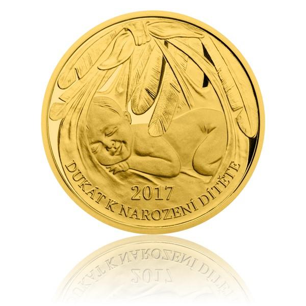 Zlatý dukát k narození dítěte 2017 s věnováním proof