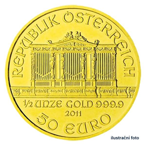 Zlatá investiční mince 1/2 Oz 50 EUR Wiener Philharmoniker stand