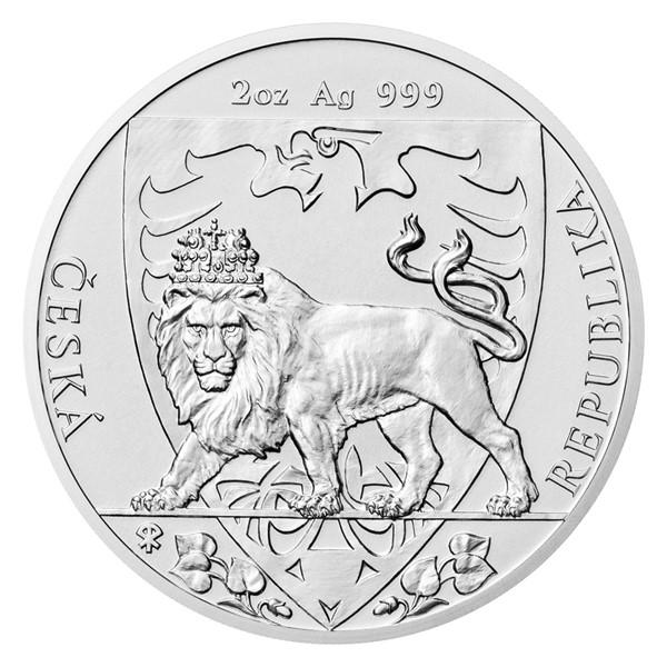 Stříbrná dvouuncová investiční mince Český lev 2020 stand