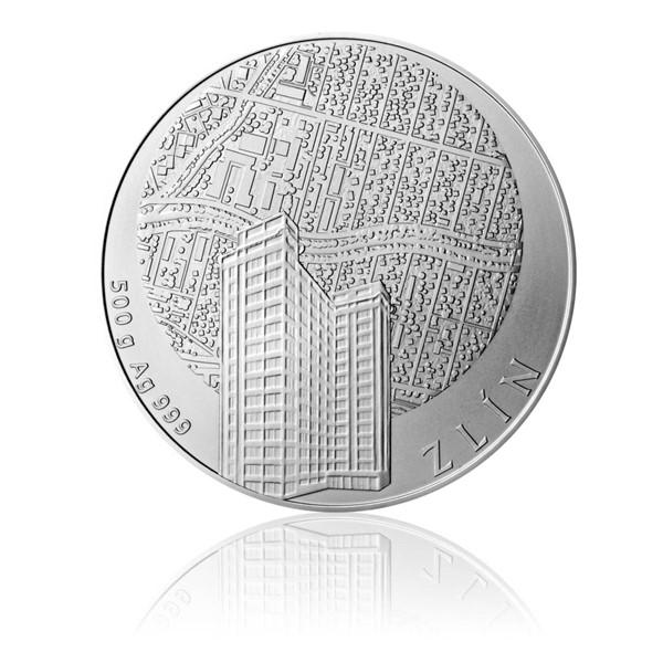 Stříbrná půlkilová investiční medaile Statutární město Zlín stand