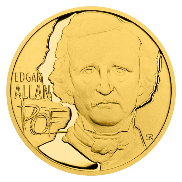 Zlatá půluncová mince E. A. Poe proof
