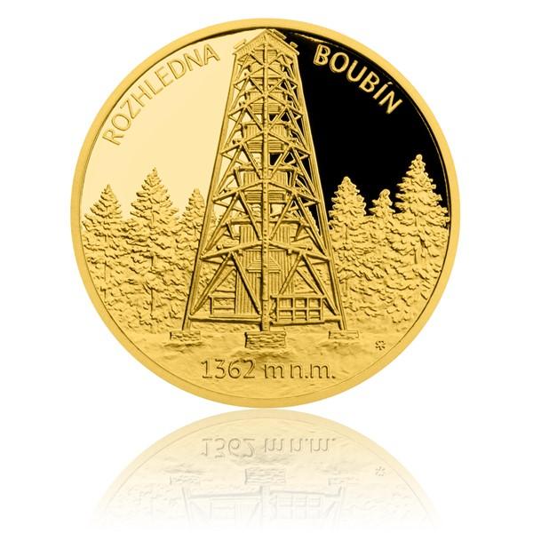 Zlatá čtvrtuncová medaile Rozhledna Boubín proof