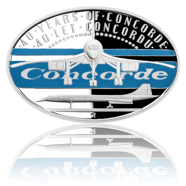 Stříbrná mince 40 let Concordu kolor proof