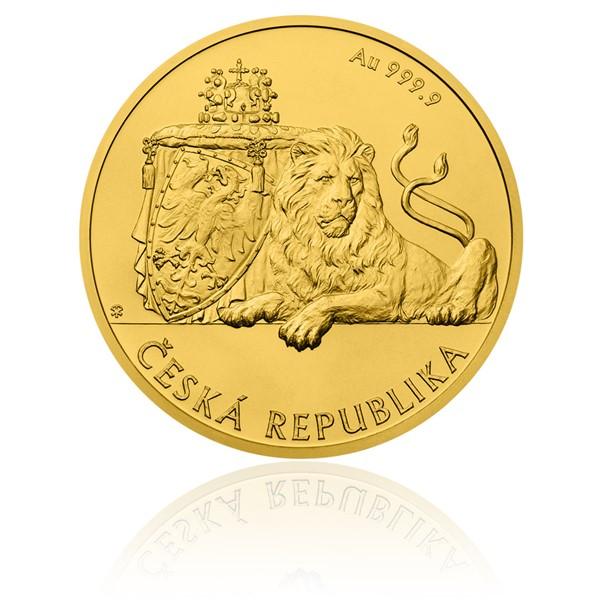 Zlatá uncová investiční mince Český lev stand