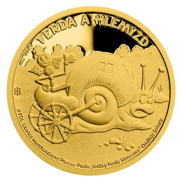 Zlatá mince Ferda a Hlemýžď proof