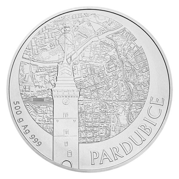 Stříbrná půlkilová sběratelská medaile Statutární město Pardubice stand
