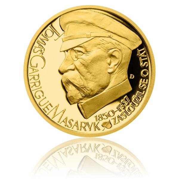 Stříbrná pozlacená medaile Českoslovenští prezidenti - T. G. Masaryk proof