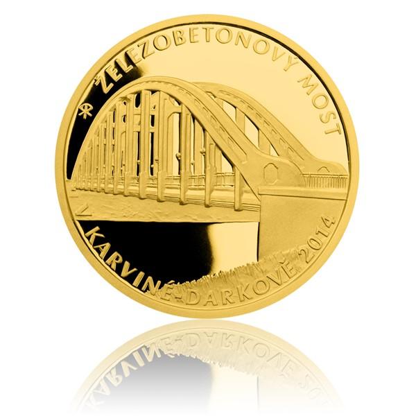 Zlatá mince 5000 Kč 2014 Železobetonový most v Karviné - Darkově proof