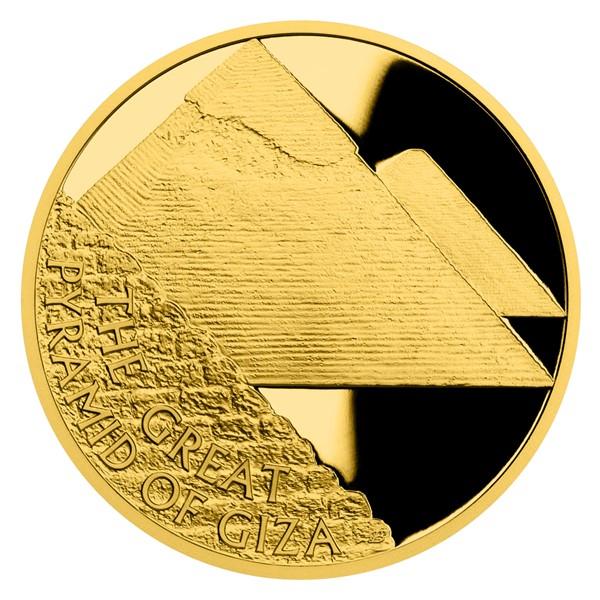 Zlatá mince Sedm divů starověkého světa - Egyptské pyramidy proof