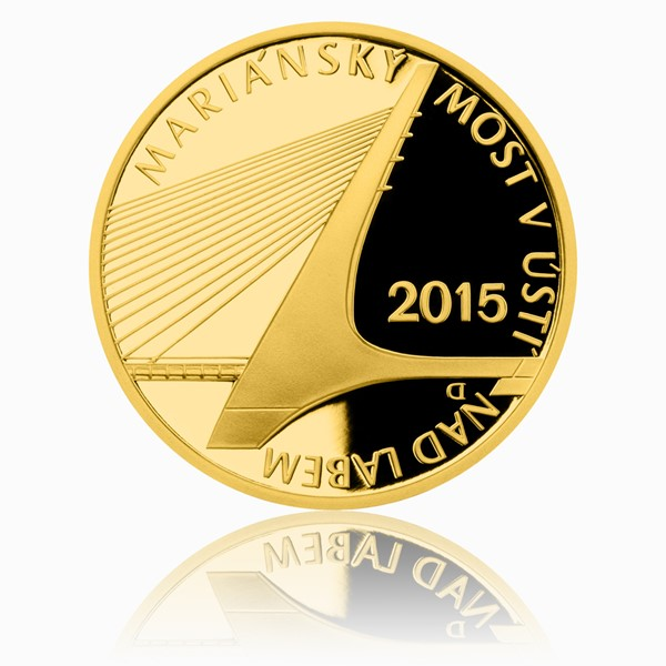 Zlatá mince 5000 Kč 2015 Mariánský most v Ústí nad Labem proof