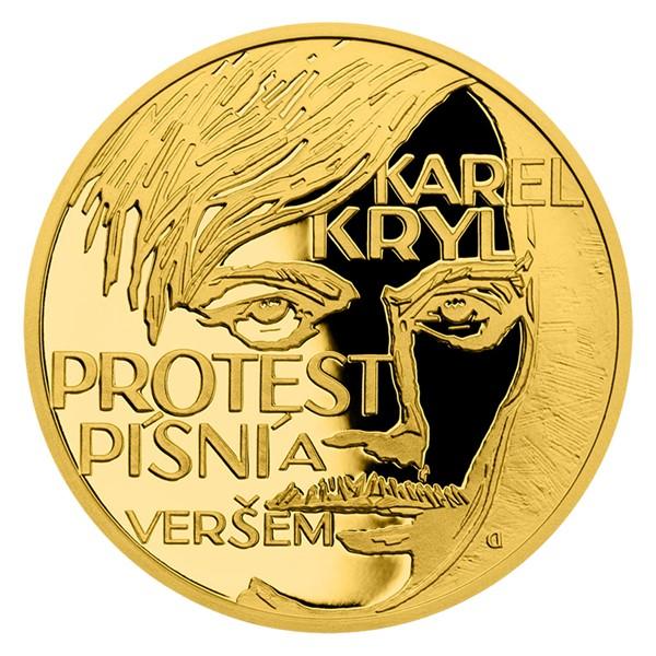"""Zlatá mince Cesta za svobodou - Karel Kryl """"Protest song"""" proof"""
