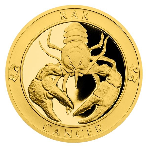 Zlatý dukát Znamení zvěrokruhu s věnováním - Rak proof