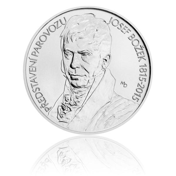 Stříbrná mince 200 Kč 2015 Josef Božek předvedl parovůz stand