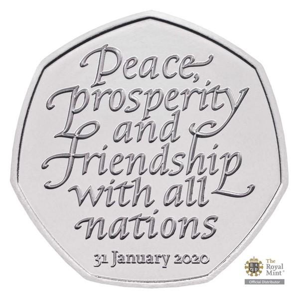 Pamětní mince Brexit - odchod z Evropské unie UK 2020 stand