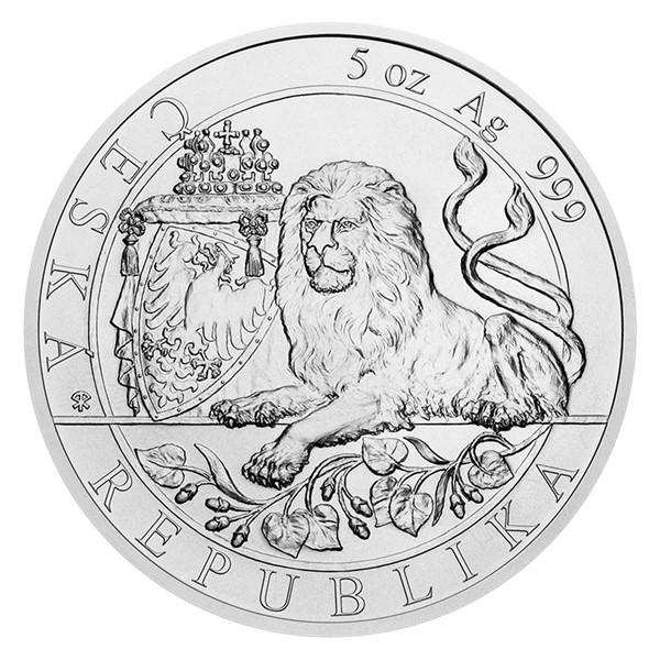 Stříbrná pětiuncová investiční mince Český lev 2019 stand