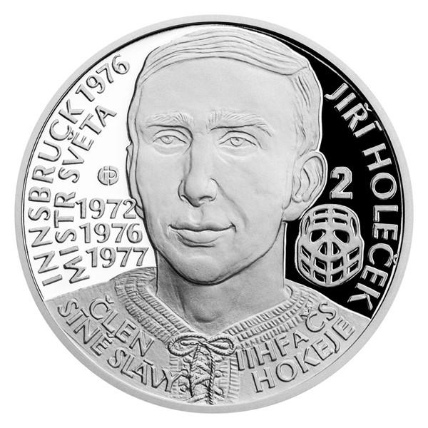 Stříbrná mince Legendy čs. hokeje - Jiří Holeček proof