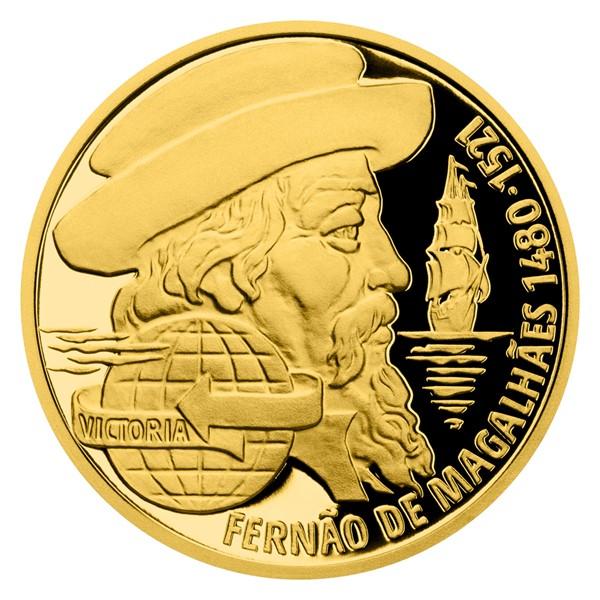 Zlatá čtvrtuncová mince Na vlnách - Fernão de Magalhães proof
