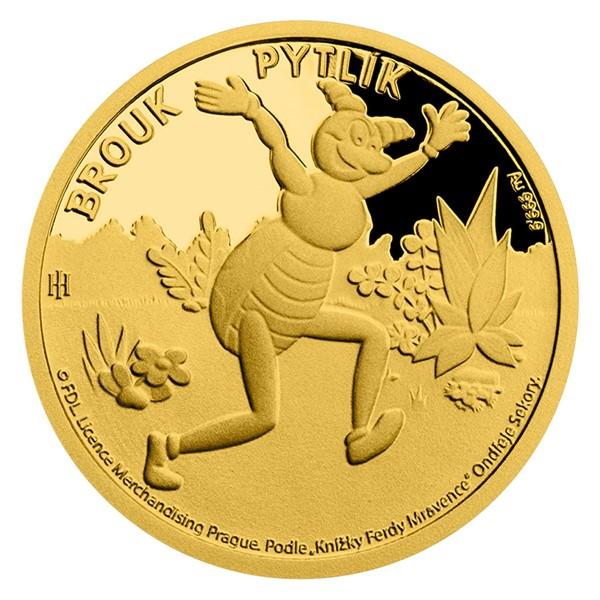 Zlatá mince Brouk Pytlík proof