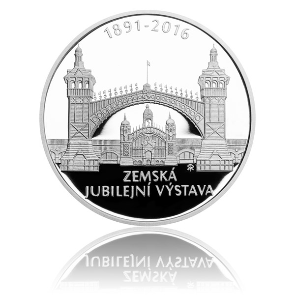 Stříbrná mince 200 Kč 2016 Zemská jubilejní výstava v Praze proof