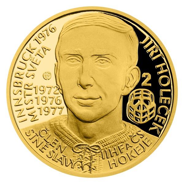 Zlatá čtvrtuncová mince Legendy čs. hokeje - Jiří Holeček proof