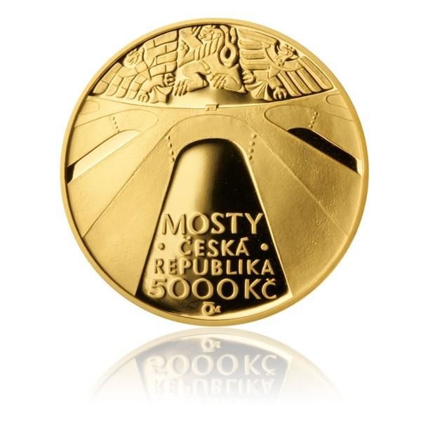 Zlatá mince 5000 Kč 2013 Železniční most v Žampachu proof
