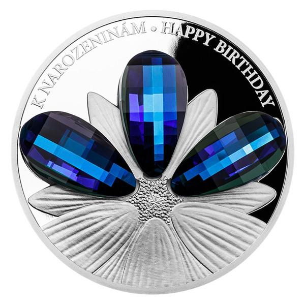 Stříbrná mince CRYSTAL COIN - K narozeninám proof