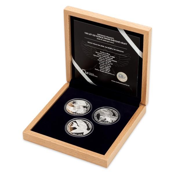 Sada tří stříbrných mincí 100 let od konce první světové války proof