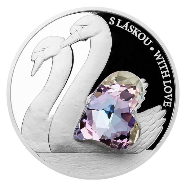 Stříbrná mince CRYSTAL COIN - S láskou proof