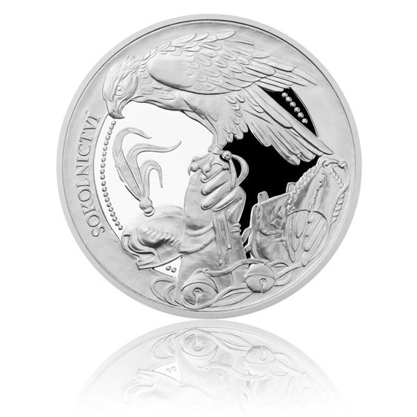 Stříbrná mince České tradice UNESCO - Sokolnictví proof