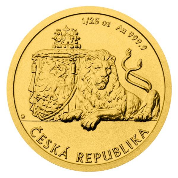 Zlatá 1/25 oz investiční mince Český lev 2018 stand