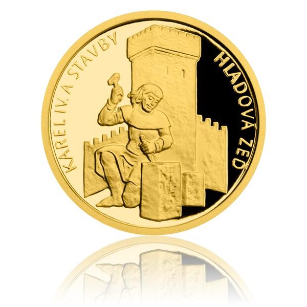 Zlatá mince Karel IV. a stavby - Hladová zeď proof
