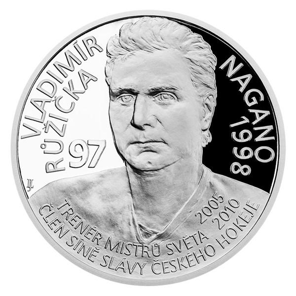 Stříbrná mince Legendy čs. hokeje - Vladimír Růžička proof