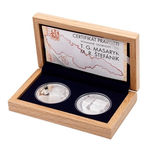 Sada dvou stříbrných medailí T. G. Masaryk a M. R. Štefánik proof
