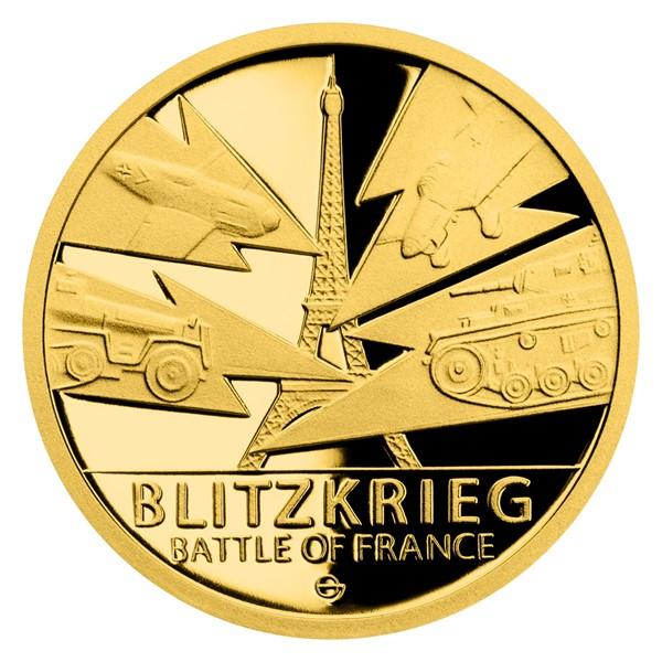 Zlatá mince Válečný rok 1940 - Bitva o Francii proof